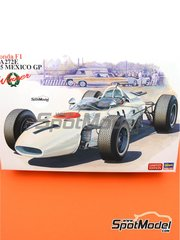 Hasegawa: Model car kit 1/24 scale - Honda F1 RA272E #11 - Mexican Formula 1 Grand Prix 1965 - plastic parts, rubber parts, water slide decals, assembly instructions and painting instructions