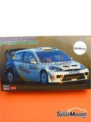 Hasegawa: Maqueta de coche escala 1/24 - Ford Focus RS WRC 03 Castrol Nº 4 - Markko Märtin (EE) + Michael Park (GB) - Rally de los 1000 Lagos Finlandia 2003 - piezas de plástico, piezas de goma, calcas de agua, manual de instrucciones e instrucciones de pintado