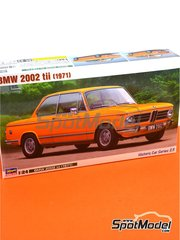 Hasegawa: Model car kit 1/24 scale - BMW 2002 tii - plastic parts, rubber parts, water slide decals and assembly instructions image