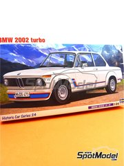 Hasegawa: Model car kit 1/24 scale - BMW 2002 Turbo - plastic parts, rubber parts, water slide decals, assembly instructions and painting instructions