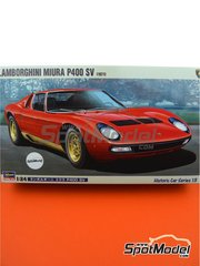 Hasegawa: Model car kit 1/24 scale - Lamborghini Miura P400 SV - plastic parts, rubber parts, water slide decals, assembly instructions and painting instructions
