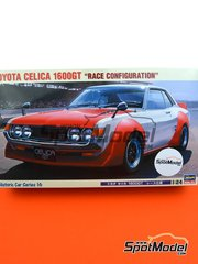 Hasegawa: Model car kit 1/24 scale - Toyota Celica 1600GT #67, 68, 69 - plastic parts, rubber parts, assembly instructions and painting instructions