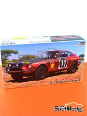 Hasegawa: Model car kit 1/24 scale - Datsun Fairlady 240Z Nissan Motors #11 - Safari Rally 1971 - plastic parts, rubber parts, water slide decals and assembly instructions