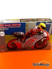 Hasegawa: Model bike kit 1/12 scale - Honda NSR250 Team Spain Gresini #4, 7 - Roberto Rolfo (IT), Emilio Alzamora (ES) - World Championship 2002 - plastic model kit