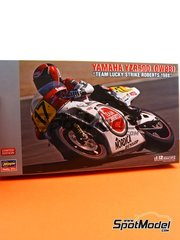 Hasegawa: Model bike kit 1/12 scale - Yamaha YZR500 0W98 Team Roberts Lucky Strike #17 - Wayne Rainey (US), Eddie Lawson (US) - Motorcycle World Championship 1988 - plastic parts, rubber parts, water slide decals, assembly instructions and painting instructions image