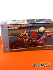 Hasegawa: Model bike kit 1/12 scale - Yamaha YZR500 0WA8 Team Roberts #49 - John Kocinski (US) - Belgian Grand Prix 1989 - plastic parts, rubber parts, water slide decals and assembly instructions image