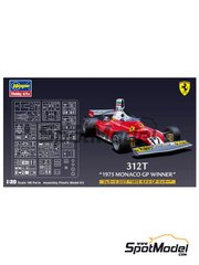 Hasegawa: Model car kit 1/20 scale - Ferrari 312T Agip #12 - Niki Lauda (AT), Clay Regazzoni (CH) - Monaco Grand Prix 1975 - plastic parts, rubber parts, water slide decals and assembly instructions