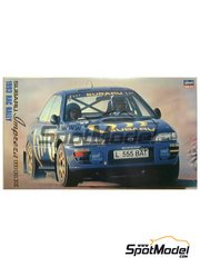 Hasegawa: Model car kit 1/24 scale - Subaru Impreza WRX 555 #2, 5 - Colin McRae (GB) + Derek Ringer (GB), Ari Vatanen (FI) + Bruno Berglund (SE) - Great Britain RAC Rally 1993 - plastic parts, water slide decals and assembly instructions