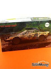 Hasegawa: Model car kit 1/24 scale - Lancia Stratos HF Alitalia #4, 7 - Sandro Munari (IT) + Piero Sodano (IT), Simo Lampinen (FI) + Sölve Andreasson (SE) - Safari Rally 1977 - plastic model kit - for Hasegawa reference 20268 image