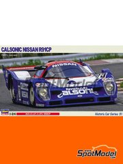 Hasegawa: Model car kit 1/24 scale - Nissan R91CP Group C Calsonic Nismo #23 - Kazuyoshi Hoshino (JP) + Toshio Suzuki (JP) - Japan Sport Prototype Endurance Championship (JSPC) 1991 - plastic parts, rubber parts, water slide decals, assembly instructions and painting instructions