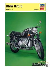 Hasegawa: Model bike kit 1/10 scale - BMW R75/5 - plastic parts, rubber parts, water slide decals, assembly instructions and painting instructions