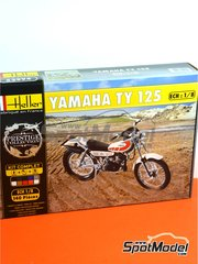 Heller: Model bike kit 1/8 scale - Yamaha 125 TY - plastic parts, water slide decals and assembly instructions image