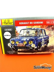 Heller: Model car kit 1/24 scale - Renault R8 Gordini #68 - Montecarlo Rally - plastic parts, rubber parts, water slide decals, assembly instructions and painting instructions