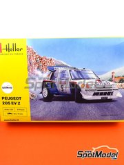 Heller: Model car kit 1/24 scale - Peugeot 205 Evo 2 Turbo 16 Shell #5 - Bruno Saby (FR) + Jean-Francois Fauchille (FR) - Tour de Corse 1986
