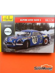 Heller: Model car kit 1/24 scale - Alpine Renault A110 1600 #1 - Jean-Pierre Nicolas (FR) - Tour de Corse 1973 - plastic parts, rubber parts, water slide decals, assembly instructions and painting instructions image