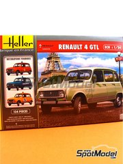 Heller: Model car kit 1/24 scale - Renault 4L TL/GTL - plastic parts, rubber parts, water slide decals, assembly instructions and painting instructions