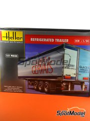 Heller: Trailer kit 1/24 scale - Euro refrigerated trailer - plastic parts, water slide decals and assembly instructions image