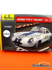 Heller: Model car kit 1/24 scale - Jaguar Type E Racing #10 1962 - plastic parts, rubber parts, water slide decals, assembly instructions and painting instructions