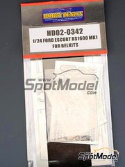 Hobby Design: Photo-etched parts 1/24 scale - Ford Escort RS1600 Mk I - photo-etched parts, resin parts, seatbelt fabric and assembly instructions - for Belkits references BEL006 and BEL007 image
