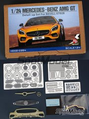 Hobby Design: Detail up set 1/24 scale - Mercedes Benz AMG GT - photo-etched parts, resin parts, other materials and assembly instructions