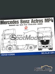 Hobby Design: Detail up set 1/24 scale - Mercedes Benz Actros Gigaspace MP4 - photo-etched parts, resin parts, seatbelt fabric, other materials and assembly instructions - for Italeri references 3905 and 3905
