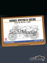 Hobby Design: Detail up set 1/12 scale - Honda VFR750R RC30 - photo-etched parts and assembly instructions - for Tamiya reference TAM14057
