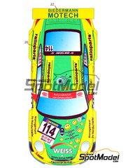 Hobby Design: Marking / livery 1/24 scale - Porsche 911 GT3 RSR Biedermann Motech #114 - Romain Dumas (FR) + Marc Lieb (DE) + Timo Bernhard (DE) + C. Hohenadel + Arno Klasen (DE) + Marcel Tiemann (DE) - 24 Hours Nürburgring 2010 - for Fujimi reference FJ123905