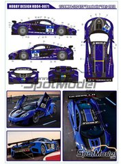 Hobby Design: Decals 1/24 scale - McLaren MP4-12C GT3 Gemballa #30 - American Le Mans Series ALMS 2012 - water slide decals and assembly instructions - for Fujimi kits FJ12555, FJ125558, FJ125633, FJ125701 and FJ125879 image