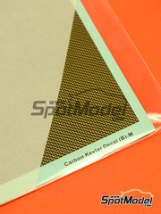 Hobby Design: Decals 1/20 scale - Carbon kevlar staircase pattern with golden background - medium size - type B