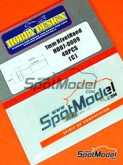 Hobby Design: Detalle - Remache de cabeza plana y agujero central de 1.00mm - 40 unidades