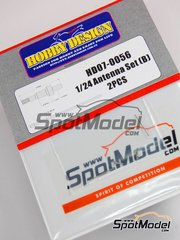 Hobby Design: Antenna 1/24 scale - Antenna Set - metal parts and turned metal parts - 2 units