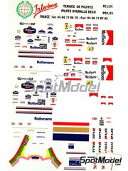 Interdecal: Marking / livery 1/24 scale - Pilots Overalls deco: Damon Hill, Villeneuve, Irvine, Michael Schumacher. Rothmans, Marlboro, Falke, Ferrari  - water slide decals