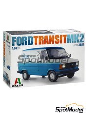 Italeri: Model van kit 1/24 scale - Ford Transit Mk.2 - plastic parts, water slide decals and assembly instructions