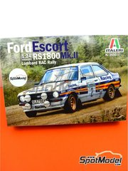 Italeri: Model car kit 1/24 scale - Ford Escort Mk. II RS1800 Rothmans #2 - Ari Vatanen (FI) + David Richards (GB) - Lombard RAC Rally 1981 - plastic parts, rubber parts, water slide decals and assembly instructions - for Italeri references 3650 and 3655, or Revell references REV07374 and 7374