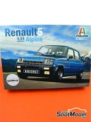 Italeri: Model car kit 1/24 scale - Renault R5 Alpine - plastic parts, rubber parts, water slide decals, assembly instructions and painting instructions