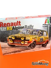 Italeri: Model car kit 1/24 scale - Renault R5 Alpine Rally Calberson #12, 19 - Jean Ragnotti (FR) + Jean-Marc Andrié (FR), Guy Fréquelin (FR) + Jacques Delaval (FR) - Montecarlo Rally 1978 - plastic parts, rubber parts, water slide decals and assembly instructions image
