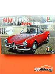 Italeri: Model car kit 1/24 scale - Alfa Romeo Giulietta Spider 1600 - plastic parts, rubber parts, water slide decals and assembly instructions