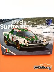 Italeri: Model car kit 1/24 scale - Lancia Stratos HF Alitalia #1 - Sandro Munari (IT) + Silvio Maiga (IT) - Montecarlo Rally 1977 - plastic parts, rubber parts, water slide decals and assembly instructions image
