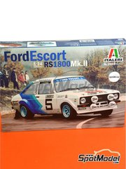Italeri: Model car kit 1/24 scale - Ford Escort Mk. II - plastic parts, rubber parts, water slide decals and assembly instructions