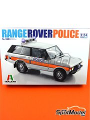 Italeri: Model car kit 1/24 scale - Range Rover Police 1979 and 1980 - plastic parts, rubber parts, water slide decals, assembly instructions and painting instructions