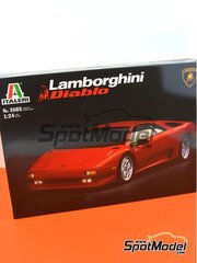 Italeri: Model car kit 1/24 scale - Lamborghini Diablo - plastic parts, rubber parts, water slide decals and other materials
