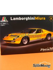 Italeri: Model car kit 1/24 scale - Lamborghini Miura - plastic parts, rubber parts, water slide decals, other materials, assembly instructions and painting instructions