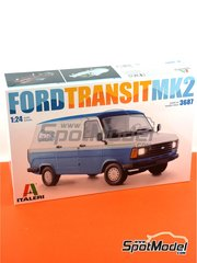 Italeri: Model van kit 1/24 scale - Ford Transit Mk.2 - plastic parts, rubber parts, water slide decals and assembly instructions