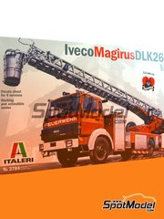 Italeri: Model truck kit 1/24 scale - Iveco Magirus DLK 26-12 Fire Ladder Truck - plastic parts, rubber parts, water slide decals, assembly instructions and painting instructions