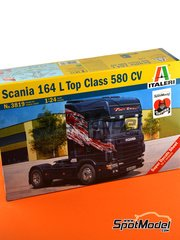 Italeri: Model truck kit 1/24 scale - Scania 164L Topclass 580 CV - plastic parts, rubber parts, water slide decals and assembly instructions image