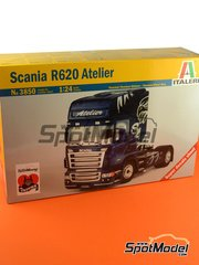 Italeri: Model truck kit 1/24 scale - Scania R620 Atelier - plastic parts, rubber parts, water slide decals and assembly instructions