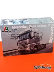 Italeri: Model truck kit 1/24 scale - Mercedes Benz Actros Gigaspace - plastic parts, rubber parts, water slide decals, other materials and assembly instructions