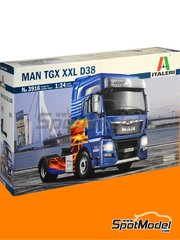 Italeri: Model truck kit 1/24 scale - Man TGX XXL Euro 6 - plastic parts, rubber parts, water slide decals and assembly instructions