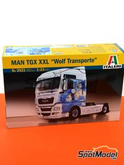 Italeri: Model truck kit 1/24 scale - Man TGX XXL - plastic parts, rubber parts, water slide decals and assembly instructions