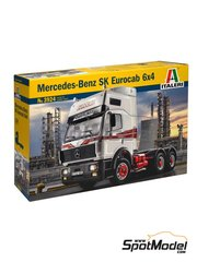 Italeri: Model truck kit 1/24 scale - Mercedes Benz SK Eurocab 6x4 - plastic parts, rubber parts, water slide decals and assembly instructions